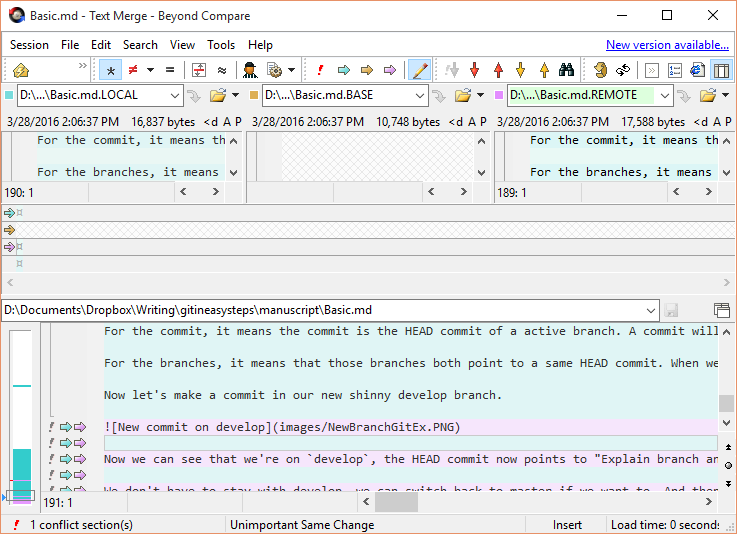 Merging in merge tool